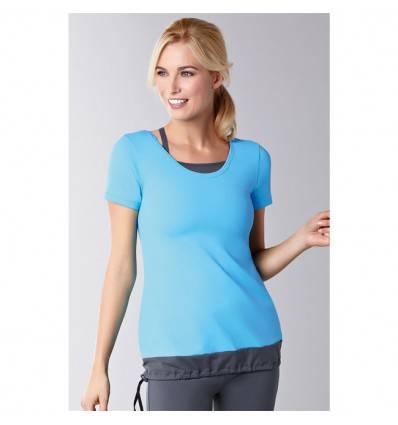 Top Short Sleeve bleu 1014 avec soutien-gorge intégré