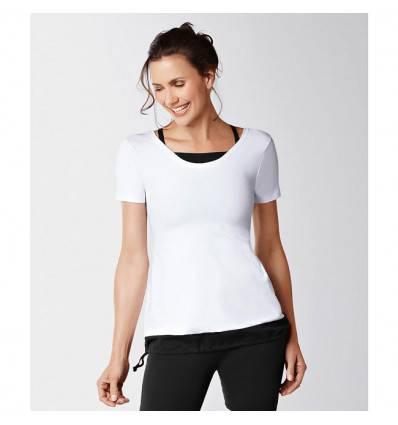 Top Short Sleeve noir et blanc 1013 avec soutien-gorge intégré